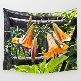 Orange Meadow Lillies Wall Tapestry