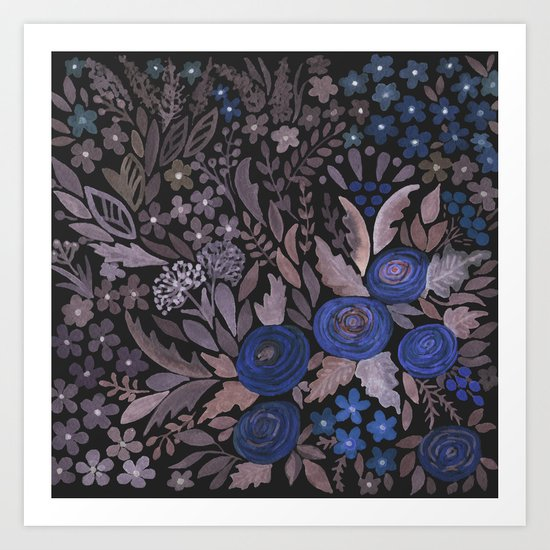 Watercolor blue flowers . The blue of the night . Art Print