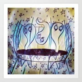 Ghosties on Trampolines Art Print