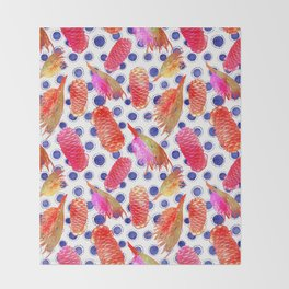 Beautiful Australian Native Floral Pattern - Grevillea and Beehive Ginger Throw Blanket