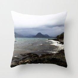 Elgol Scotland - Stormy Seas Throw Pillow