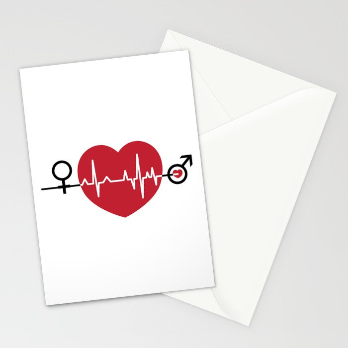 Love hearts EKG Stationery Cards