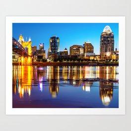 Colorful Cincinnati Night Skyline Reflections Art Print