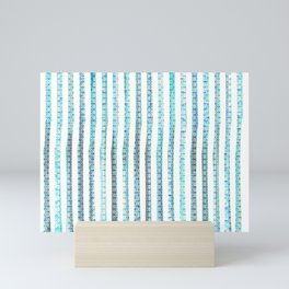 turquoise scaled strips Mini Art Print