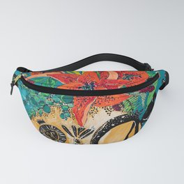 Amphitrite: Orange Lily and Wildflower Bouquet in Lion and Giraffe Urn on Emerald Matisse Inspired Wallpaper Fanny Pack