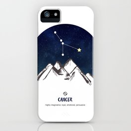 Astrology Cancer Zodiac Horoscope Constellation Star Sign Watercolor Poster Wall Art iPhone Case
