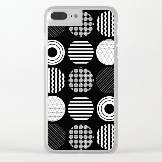 Ecelctic Geometric 2 - Black and white multi patterned design Clear iPhone Case
