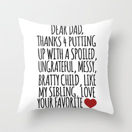 Brother Sister Family twin dad gifts Throw Pillow
