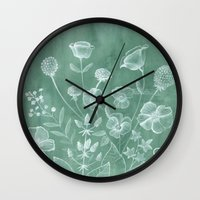 botanical Wall Clocks featuring botanical by kinomi.me