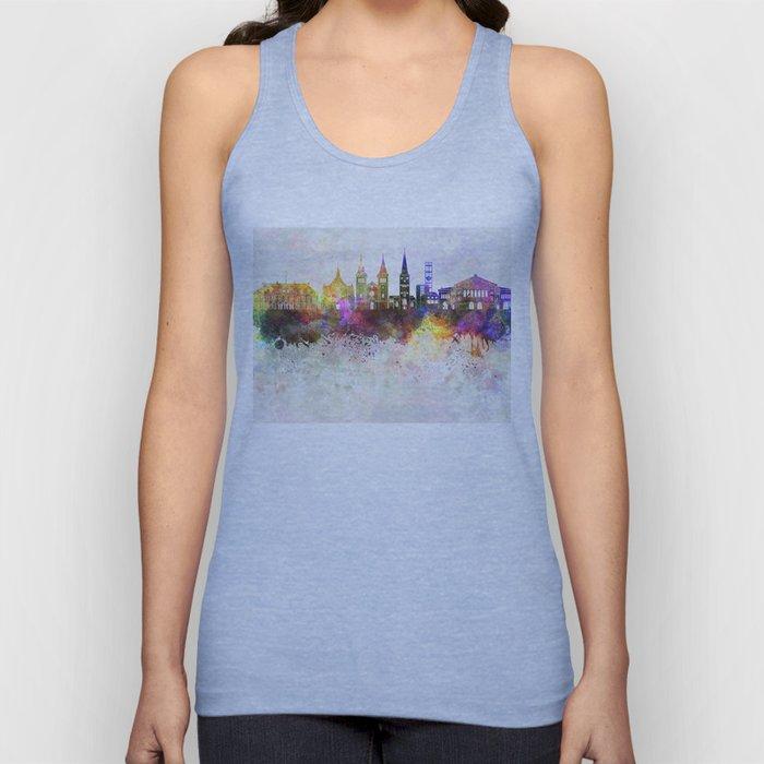 Aarhus skyline in watercolor background Unisex Tank Top
