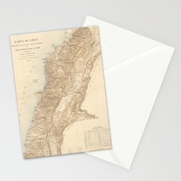 Vintage Map of Lebanon (1862) Stationery Cards