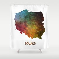 poland Shower Curtains featuring Poland map  by jbjart