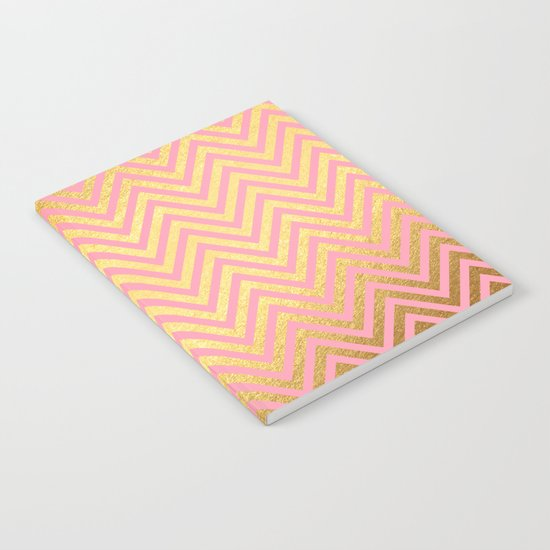Chevron pattern rosegold- gold metal on pink watercolor Notebook
