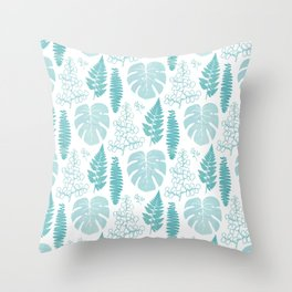 Pale tropical leaves and ferns Throw Pillow