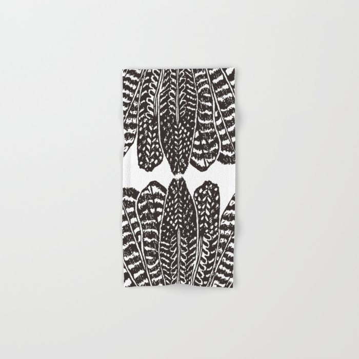 TRIBAL FEATHERS - BLACK Hand & Bath Towel