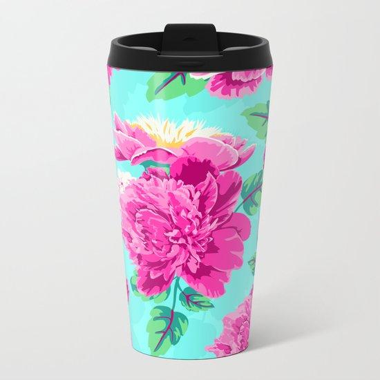 Bright Flowers Pretty Peonies Metal Travel Mug