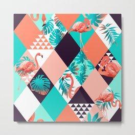 Geometric Tropical Flamingos I Metal Print