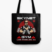 gym Tote Bags featuring Skynet Gym by Buby87