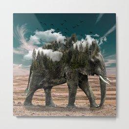 Surrealist elephant on a dry African landscape photo Metal Print