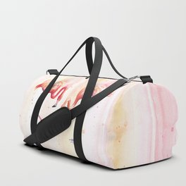 Two Flamingos Watercolor Tropical Birds Animals Duffle Bag