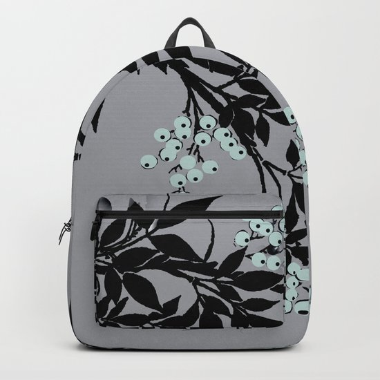 TREE BRANCHES BLACK AND GRAY WITH BLUE BERRIES Backpack