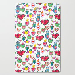 Sacred Hearts Milagros Watercolor Cutting Board
