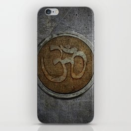 The sound of the Universe. Gold Ohm Sign On Stone iPhone Skin