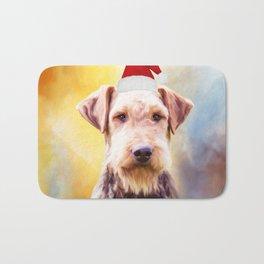 Airedale Dog Christmas Santa Hat Art Portrait Bath Mat