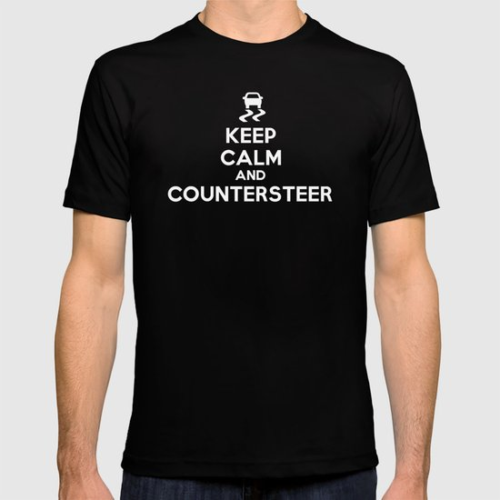 Keep Calm and Countersteer - White Text T-shirt
