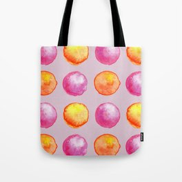 Juicy Watercolor Pink Pearls And Orange Fireballs Pattern Tote Bag