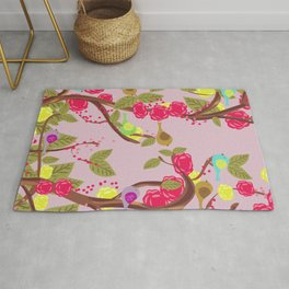 Vintage Birds and flowers Rug