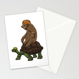 Sloth Rides A Turtle - Speed Is Overrated Stationery Cards