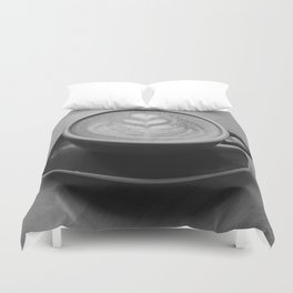 Cafe Heart - Black and White Duvet Cover