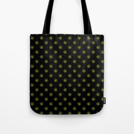 Electric Yellow on Black Snowflakes Tote Bag