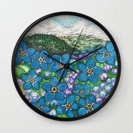 Mountains and Forget-Me-Nots Wall Clock