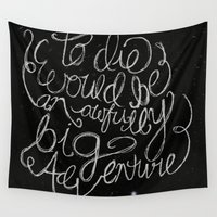 peter pan Wall Tapestries featuring Peter Pan Quote by Megan Oliveri Designs