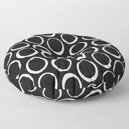 Polka Dots Circles Tribal Cream on Black Floor Pillow
