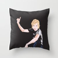 cassia beck Throw Pillows featuring Beck Hansen by Alfredo Torres