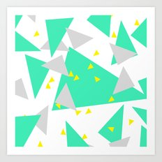 Modern abstract bright yellow green triangles geometrical Art Print