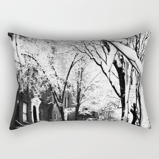Black and White Photo of the Beautiful Brooklyn Heights covered in icy snow Rectangular Pillow