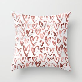 Rose Gold Love Hearts on Marble Throw Pillow