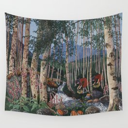 Floxgloves and White Birch amid the Stream landscape by Nikolai Astrup Wall Tapestry