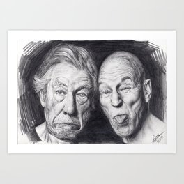 Patrick Stewart & Ian McKellen Art Print