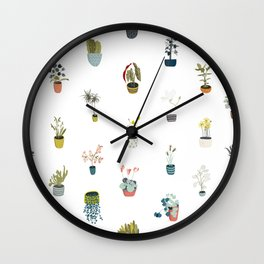 plants in pots Wall Clock