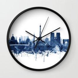 Paris Skyline Watercolor Blue, Art Print By Synplus Wall Clock