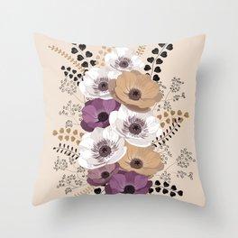 Anemones bouquet in ocher Throw Pillow