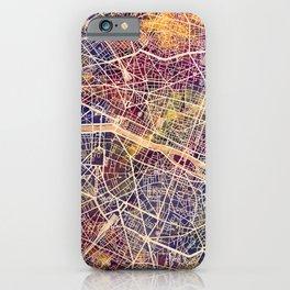 Paris France City Map iPhone Case
