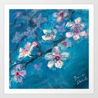 cherry blossoms Art Prints featuring Cherry Blossoms by Spinning Daydreams