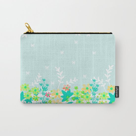 Turquoise floral pattern . Colorful floral background . Carry-All Pouch