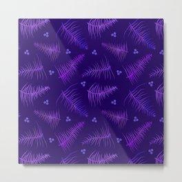 Ombré Fronds & Berries in Purple Metal Print